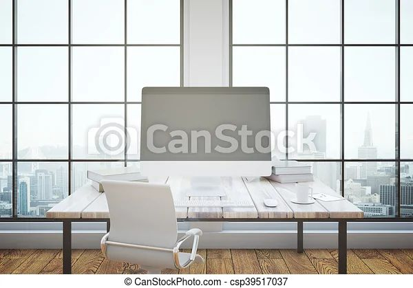 Office Interior With Mockup Pc Office Interior With Blank Pc