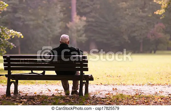 Old Man Sitting On A Bench In Autumn Autumn Of Life