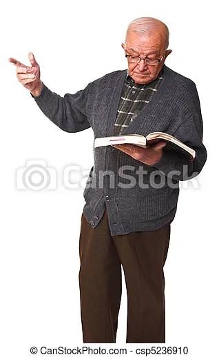 Old teacher. Senior teacher with book isolated on white background.