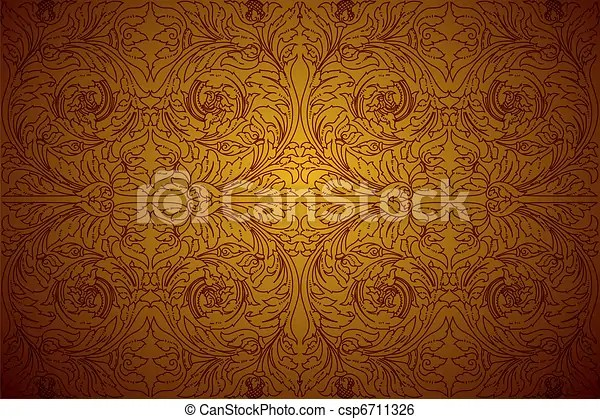 Ornament Gold Background Cambodia Ornament In Angkor Wat