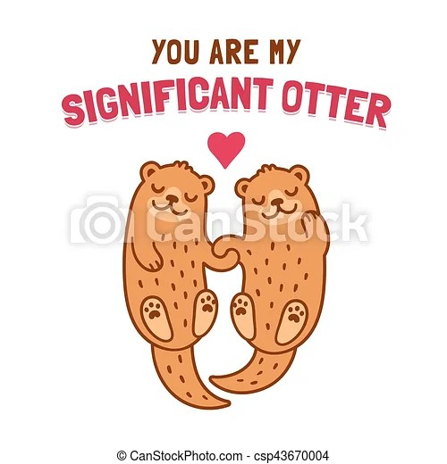 Otter Couple Holding Hands Cute Cartoon Otter Couple