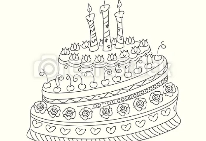 Outline Doodle Cake With Three Candles Sketch Of Monochrome Cake