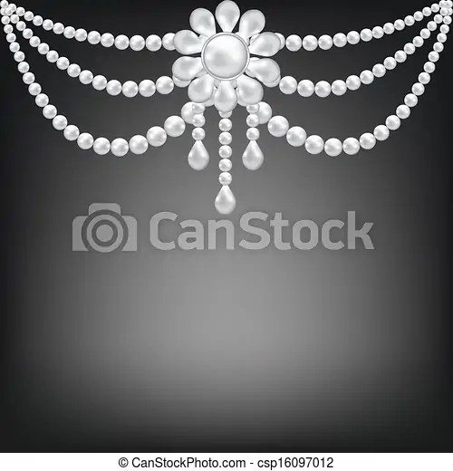 Black Background With Pearl Brooch Decoration Vector Clip
