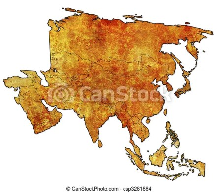 Old political map of asia with flags  political map of asia   csp3281884