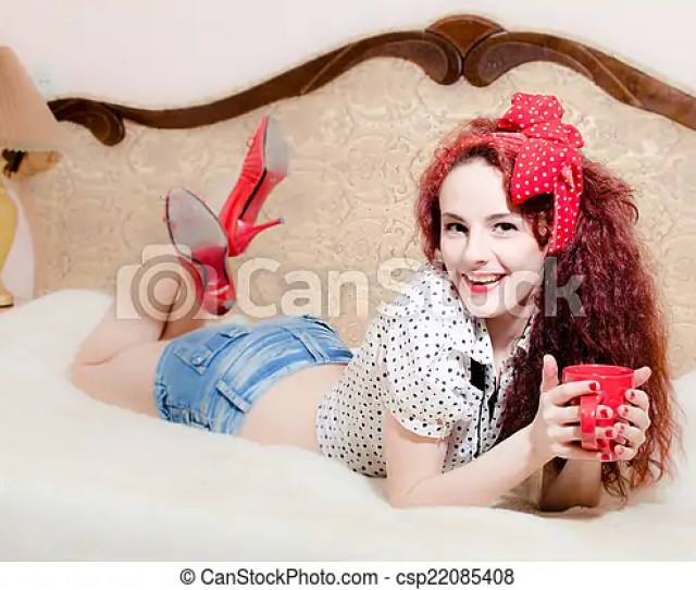 Portrait Of Holding Red Cup Of Hot Drink Sexy Pin Up Girl Beautiful Redhead Young