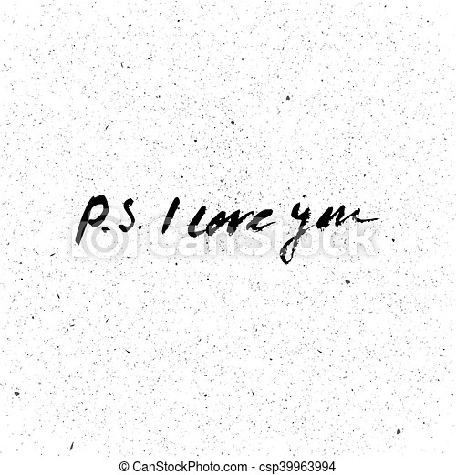 Download P.s. i love you card. ink illustration. hand drawn modern ...