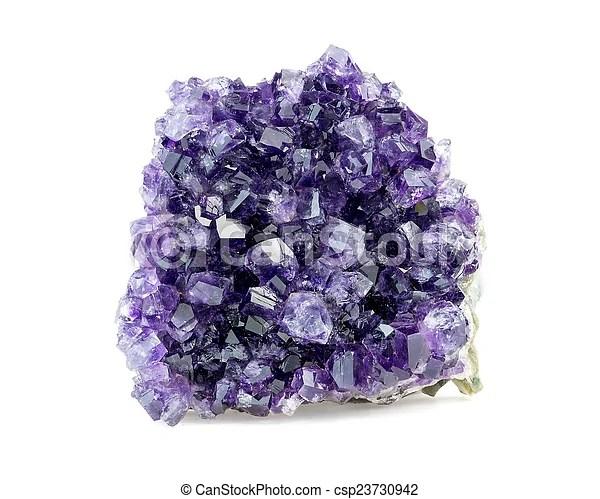 Purple amethyst geode on white background.