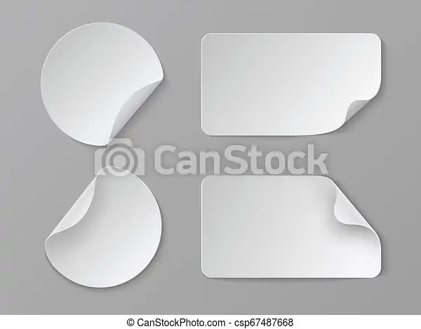 Download this nice paper cutout logo mockup to showcase your designs. Realistic Paper Stickers White Adhesive Round And Rectangular Price Tags Blank Fold Corner Paper Mockup Vector Cardboard Canstock