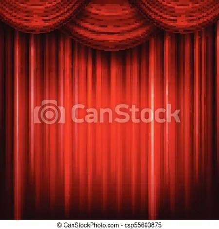 Red Closed Curtain With Light Spots In A Theater Csp55603875