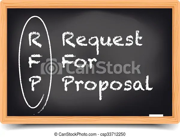 Detailed illustration of a blackboard with request for    clipart     Request for Proposal   csp33712250