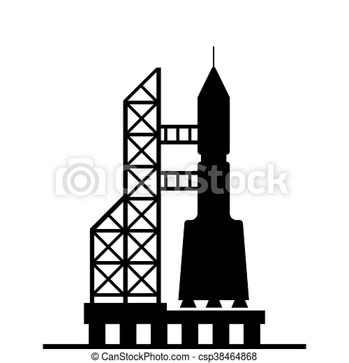 Silhouette rocket ready for launch vector icon on white ...
