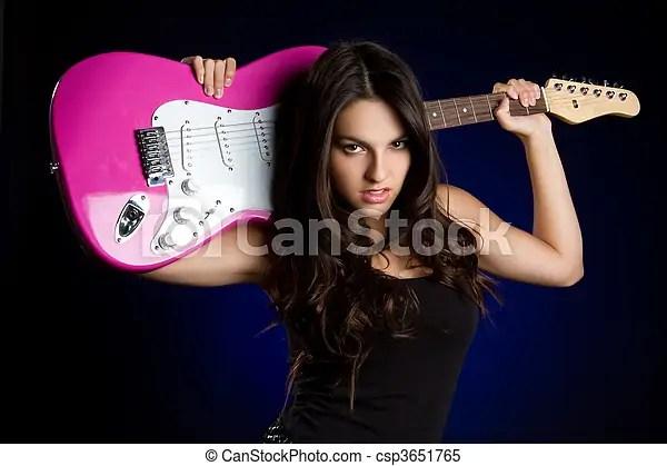 Rockstar girl. Beautiful rockstar girl with guitar.
