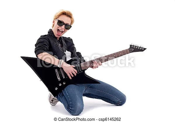 Rockstar playing a electric guitar isolated in white.