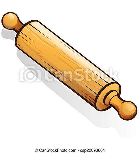Rolling pin cartoon isolated on white.