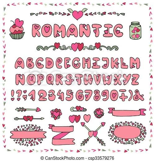 Download Romantic alphabet. heart font. abc letters decor. Modern ...