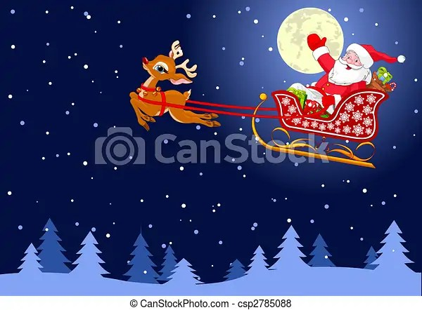 Santas Sled Vector Background With Santa Claus Flying