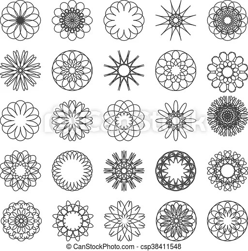 Set Of Simple Mandalas Set Of Mandalas In Silhouette Isolated On White Simple Designs In Black And White Can Be Used For