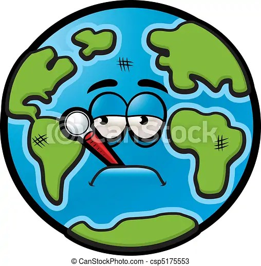 Sick Earth A Sick Cartoon Earth With A Thermometer In His