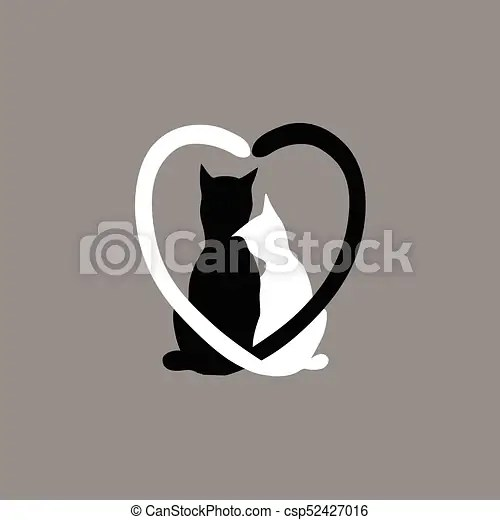 Download Silhouette of cat couple in love.