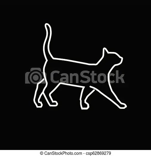 Simple Outline Illustration Cat Vector Cat Outline For Learning Drawing