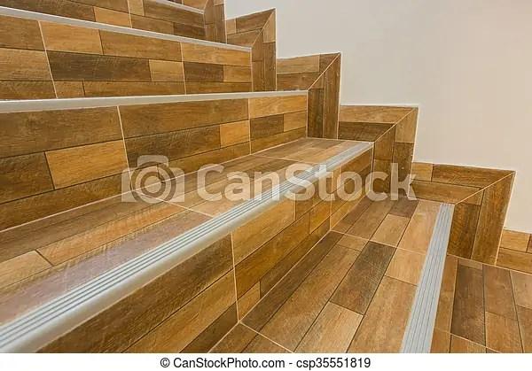 Staircase In Residential House With Ceramic Floor Tiles Wood Pattern | Stairs Floor Tiles Design | Step | Shop | Stair Riser | Wood | Stair Flooring