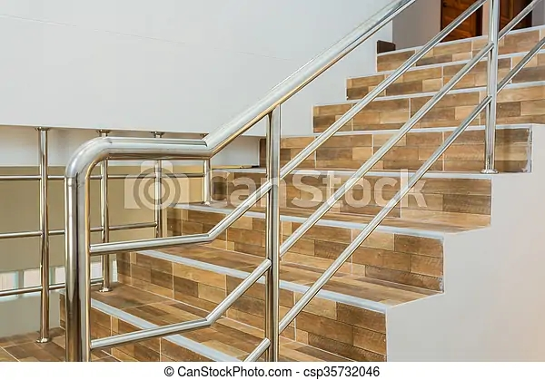 Staircase In Residential House With Stainless Steel Banister | Stairs Floor Tiles Design | Step | Shop | Stair Riser | Wood | Stair Flooring