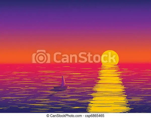 Sunset At Sea A Lone Boat Floats On A Background Of Sea