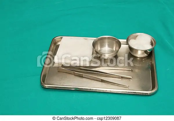 Surgical instruments set for debridement wound in a steel tray.
