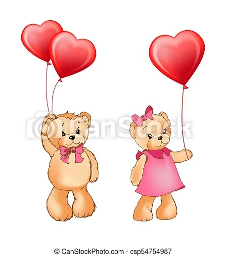 Download Teddy bear couple and balloons vector illustration. Teddy ...