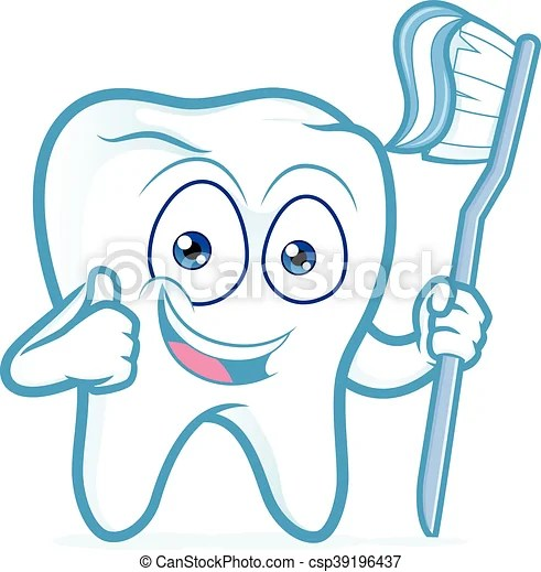 Tooth Holding Toothbrush Clipart Picture Of A Tooth Cartoon Character Holding Toothbrush