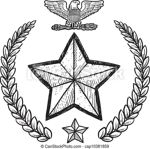 Us Army Military Insignia Doodle Style Military Rank