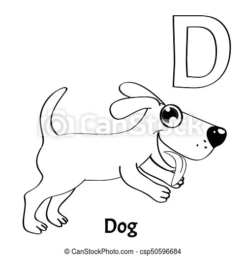 Vector Alphabet Letter D Coloring Page Dog Vector Alphabet Letter D For Children Education With Funny Cartoon Dog