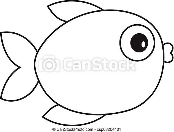 Vector Cartoon Outline Fish Vector Illustration Of Cartoon Outline Fish Vector Fish