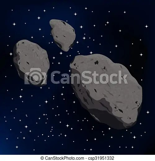 vector illustration of an asteroid and meteorite falling