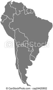 Vector map of south america in grey with states and borders  Vector Map Of South America