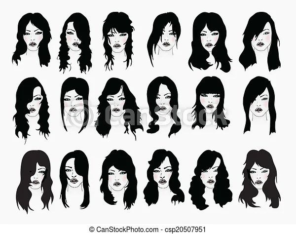 Vector Set Of Female Hair Styles With Beautiful Face