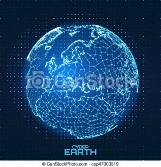 Vector world map construted of numbers and lines  abstract globe     Vector World map construted of numbers and lines  Abstract globe  connections illustration  Futurisric spherical map  Europe centered