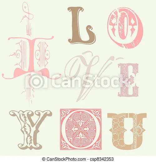 """Download Vintage letters """"i love you"""" card in vector."""