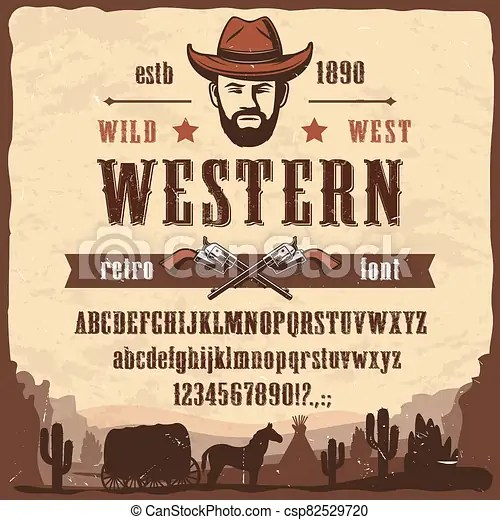 Western font type wild west style letters, numbers. Western font type wild west style vector letters and numbers. wester font