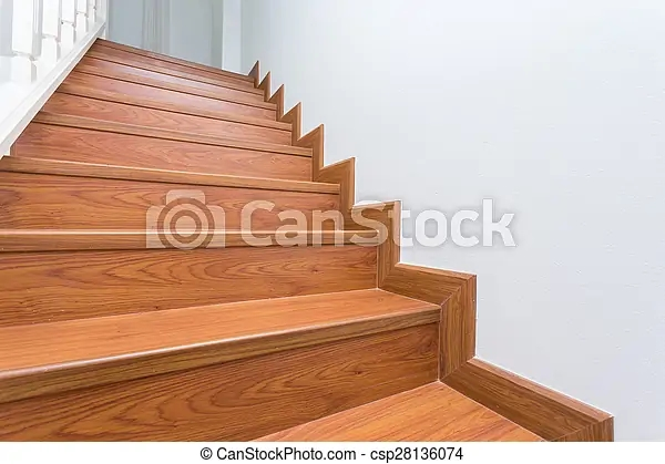 Wooden Staircase Made From Laminate Wood In White Modern House | Stairs Made Of Wood | Pine | Staircase | Wood Plank | Hanging | Custom Made