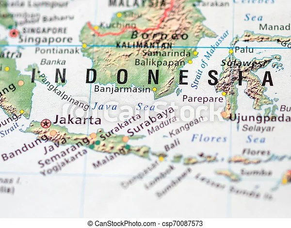World Map With Focus On Republic Of Indonesia With Capital City Jakarta Canstock