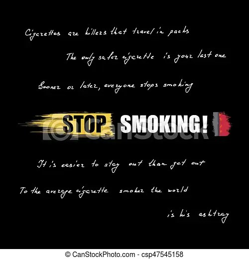 World No Tobacco Day No Smoking Inscription On Cigarette Lettering Quotes About The Dangers Of Smoking Vector Illustration