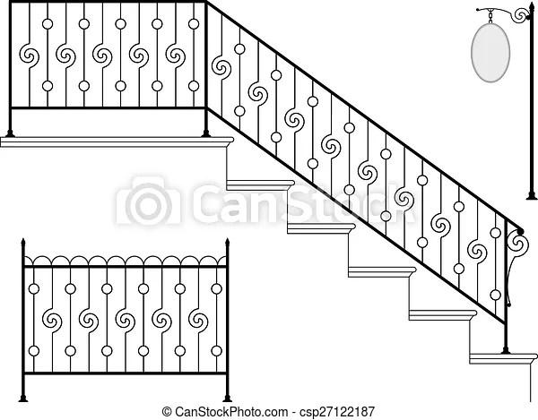 Wrought Iron Stair Railing Design Vector Art   Stairs Railing Designs In Iron   Rot Iron Staircase   Vertical   Stairway   Grill   Modern
