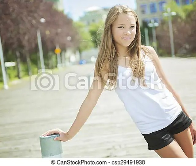 Young Long Haired Teen Girl Standing Outside Csp29491938