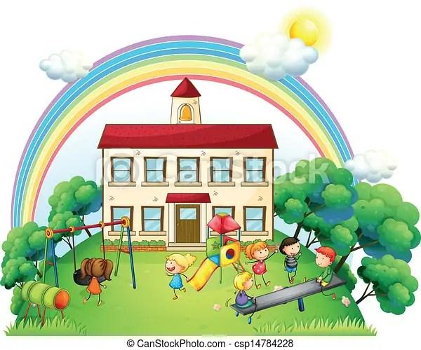 Kinder Spielplatz Spielende Kinder Abbildung