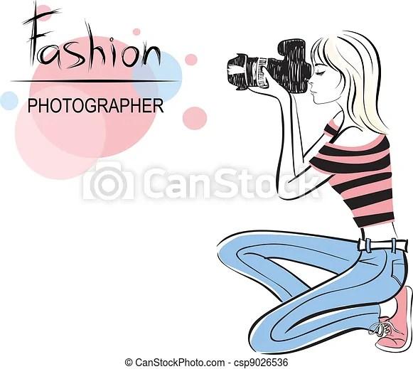 Chica fotógrafa de moda de belleza. ilustración de ...