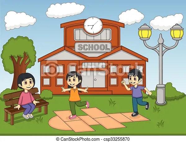 Illustrations Vectorises De Enfants Jouer Marelle Sur