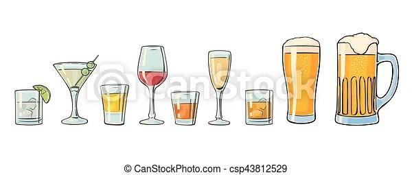 ensemble rhum whisky gin biere cocktail champagne verre tequila cognac vin