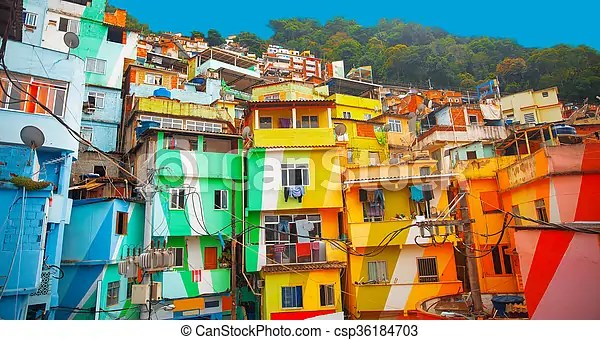 Brsil Btiments Color Janeiro Peint De Rio Favela
