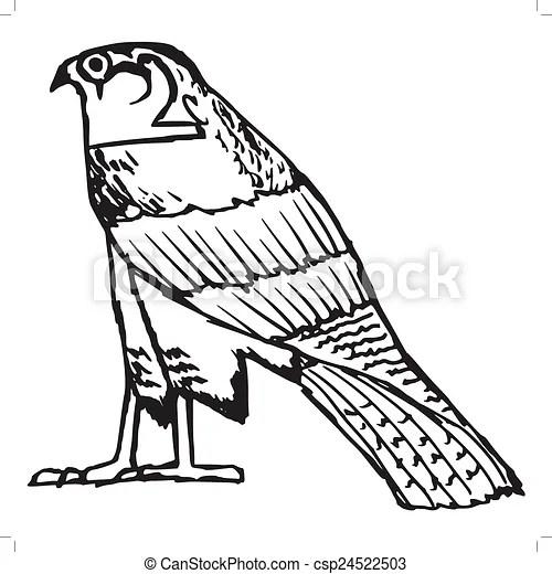 Symbole Ancien Faucon Gyptien Croquis Ancien